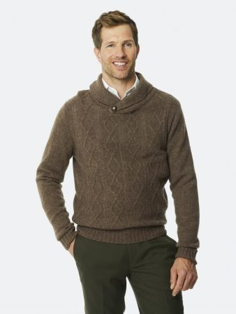 Dressmann Sweater Whitby Knit Chocolate | Mens Sweaters