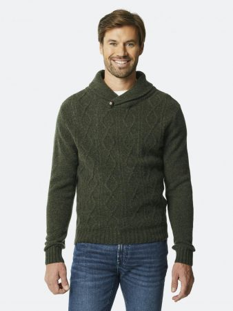 Dressmann Sweater Whitby Knit Olive green | Mens Sweaters